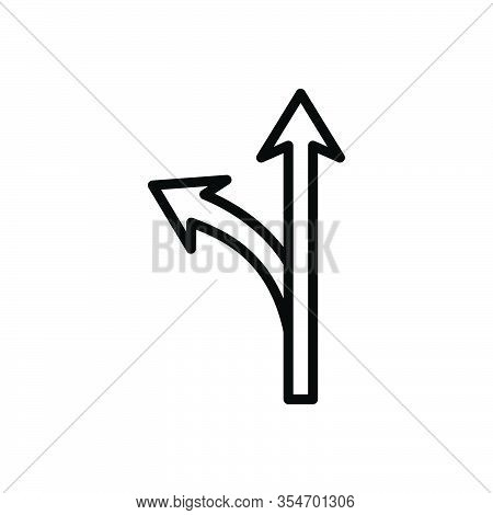 Black Line Icon For Way Road Highway Navigation Avenue Path Route Walkway Direction Options Sign