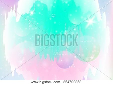 Universe Landscape With Holographic Cosmos And Abstract Future Background. 3d Fluid. Vibrant Mountai