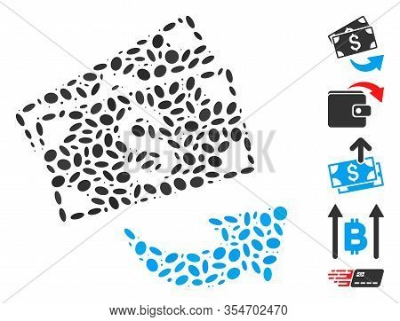 Dotted Mosaic Based On Send Money. Mosaic Vector Send Money Is Designed With Scattered Ellipse Items