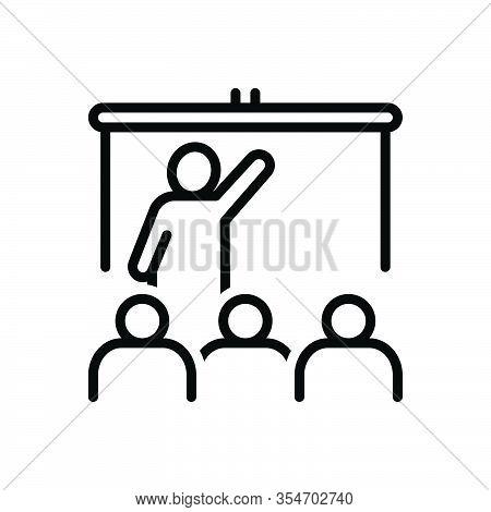 Black Line Icon For Teach Educate Tutor Coach Train Lecture Edify Students Black-board Write Study