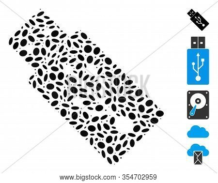 Dot Mosaic Based On Usb Drive. Mosaic Vector Usb Drive Is Formed With Scattered Elliptic Items. Bonu