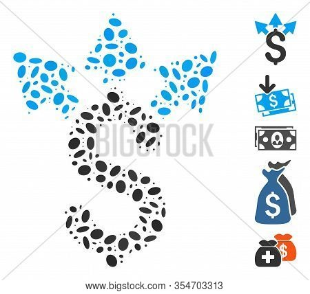 Dot Mosaic Based On Split Payment. Mosaic Vector Split Payment Is Designed With Randomized Oval Spot