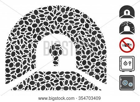 Dot Mosaic Based On Private Tunnel. Mosaic Vector Private Tunnel Is Formed With Scattered Elliptic E