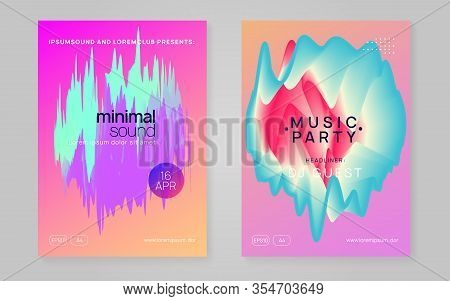 Music Fest Set. Fluid Holographic Gradient Shape And Line. Modern House Club Banner Layout. Electron