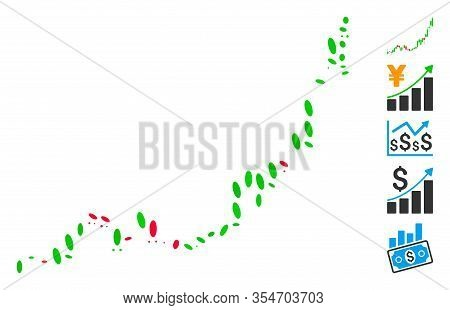 Dotted Mosaic Based On Candlestick Chart Growth Acceleration. Mosaic Vector Candlestick Chart Growth