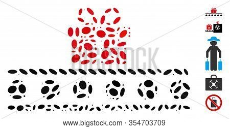 Dotted Mosaic Based On Baggage Transportation Conveyor. Mosaic Vector Baggage Transportation Conveyo