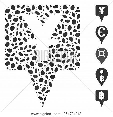 Dot Mosaic Based On Yuan Map Pointer. Mosaic Vector Yuan Map Pointer Is Composed With Randomized Ell