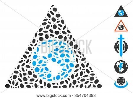 Dot Mosaic Based On Terra Triangle. Mosaic Vector Terra Triangle Is Created With Random Ellipse Item