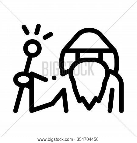Wizard Hold Wand Icon Vector. Outline Wizard Hold Wand Sign. Isolated Contour Symbol Illustration