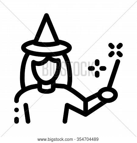 Wizard Woman Icon Vector. Outline Wizard Woman Sign. Isolated Contour Symbol Illustration