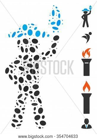 Dot Mosaic Based On Gentleman With Freedom Torch. Mosaic Vector Gentleman With Freedom Torch Is Form