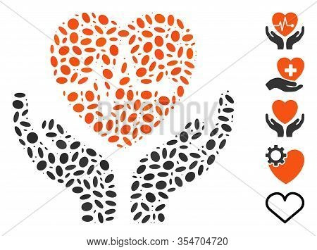 Dotted Mosaic Based On Cardiology. Mosaic Vector Cardiology Is Designed With Random Oval Items. Bonu
