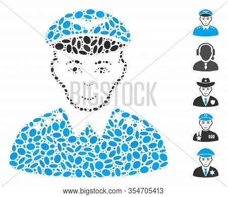 Dot Mosaic Based On Military Pilot Officer. Mosaic Vector Military Pilot Officer Is Designed With Sc