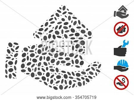 Dotted Mosaic Based On Realty Offer Hand. Mosaic Vector Realty Offer Hand Is Composed With Scattered