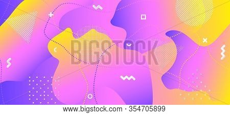 Colorful Liquid Design. Hipster Digital Composition. Abstract Vector Placard. Yellow Wave Cover. Cre