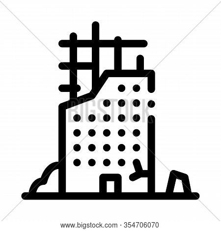 Ruined Building Icon Vector. Outline Ruined Building Sign. Isolated Contour Symbol Illustration
