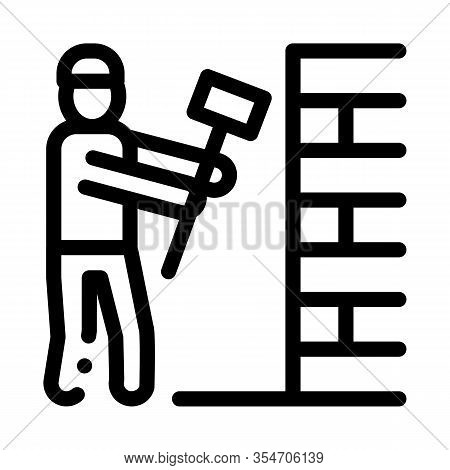 Man Destroy Wall Icon Vector. Outline Man Destroy Wall Sign. Isolated Contour Symbol Illustration
