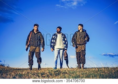 Hunting In Russia. Hunters With Shotgun Gun On Hunt. Hunting Equipment For Professionals. Hunting Is
