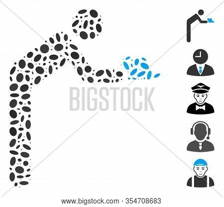 Dot Mosaic Based On Servant Person. Mosaic Vector Servant Person Is Composed With Randomized Ellipse
