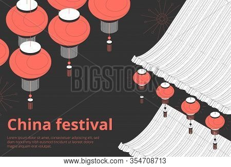 Chinese Festival Public Holiday Events Invitation Schedule Announcements Black Background Isometric