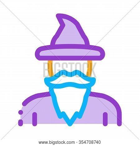 Magician Wizard Icon Vector. Outline Magician Wizard Sign. Color Isolated Contour Symbol Illustratio