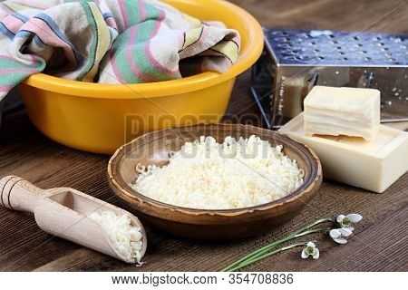 Grated Soap For Natural Laundry.  Eco Friendly Way How To Wash Laundry. Good For People With Allergy