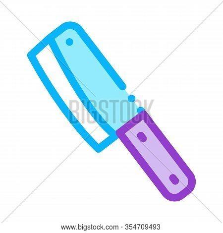 Hatchet Knife Icon Vector. Outline Hatchet Knife Sign. Color Isolated Contour Symbol Illustration