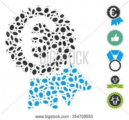Dotted Mosaic Based On Euro Featured Price Tag. Mosaic Vector Euro Featured Price Tag Is Formed With