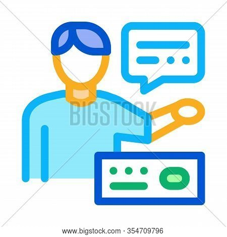 Human Speaking Icon Vector. Outline Human Speaking Sign. Color Isolated Contour Symbol Illustration