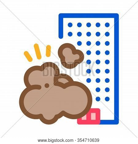 Destroying House Icon Vector. Outline Destroying House Sign. Color Isolated Contour Symbol Illustrat