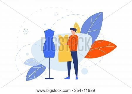Creative Profession, Hobby, Clothier Concept. Illustartion Of Man, Boy Clothier, Couturier, Atelier