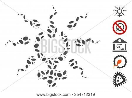 Dotted Mosaic Based On Sperm Penetration. Mosaic Vector Sperm Penetration Is Designed With Randomize