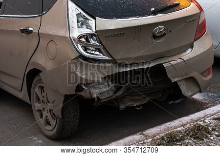 Moscow, Russia - December 29, 2019: Hyundai Solaris Passenger Car After A Crash Accident, A Broken B