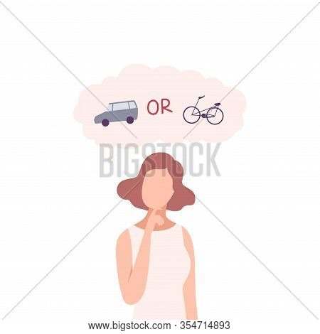 Young Woman Trying To Make Decision, Car Or Bike, Guy Hoosing Between Healthy And Unhealthy Lifestyl