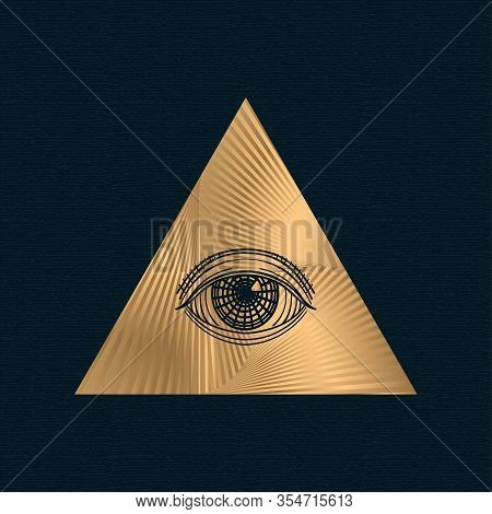 All Seeing Eye Vector, Illuminati Symbol In Triangle With Light Ray, Tattoo Design Isolated On White