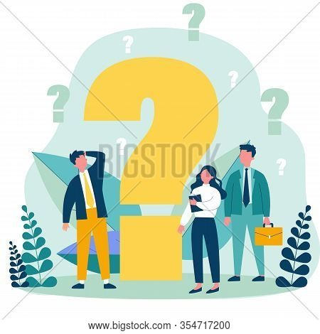 Confused Businesspeople Asking Questions. Puzzled Cartoon Characters Searching Answers And Problem S