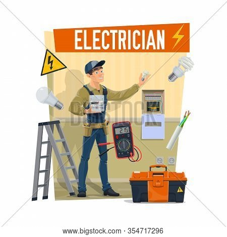 Electrician With Equipment, Toolbox And Work Tools. Cartoon Vector Worker Or Lineman Electrician In