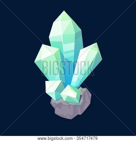 Blue Crystal Gem, Jewel Rock Mineral Stone. Isolated Natural Green Turquoise Gemstone Opal, Emerald