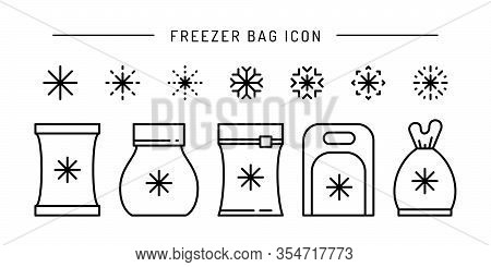Set Vector Frozen Food Bag Icon Outline