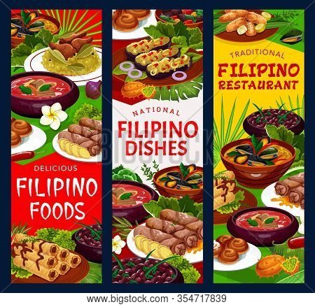 Filipino Cuisine Food, Traditional Dishes Vector Banners, Restaurant Menu With Meat, Seafood, Vegeta