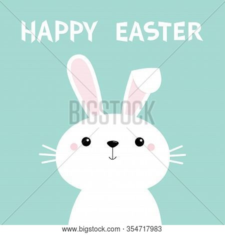 Happy Easter. Kawaii Bunny Rabbit. Long Ears. Cute Cartoon Kawaii Funny Baby Character. Farm Animal