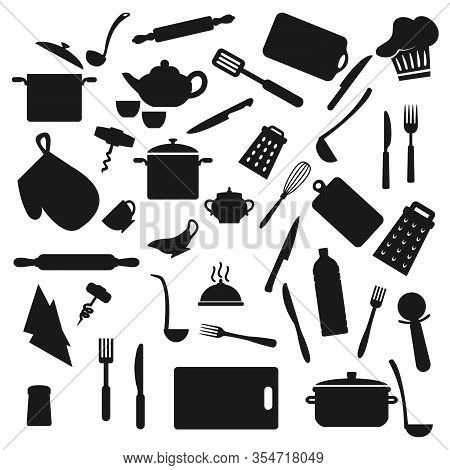 Kitchen Utensil, Kitchenware Black Silhouettes, Household Cooking Appliances. Vector Home Cook Utens