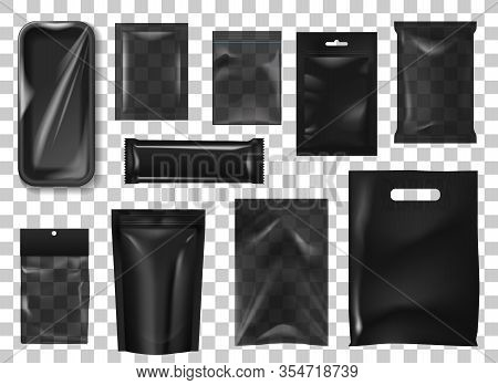 Black Pack Realistic Mock Up Set. 3d Isolated Vector Sachet Or Pouch Foil Paper, Plastic Zip Bags, D