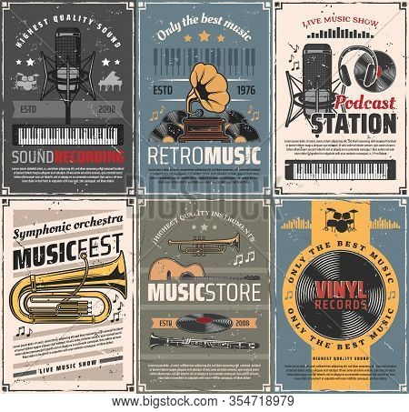 Music And Sound Recording Retro Posters. Vector Vintage Cards With Audio Gramophone, Podcast Station