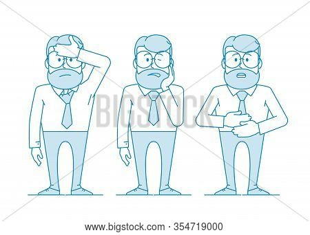 A Man Is Suffering From Pain. Headache, Toothache, And Abdominal Pain. Character - A Man In Glasses