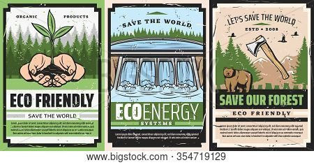 Ecology And Environment Protection, Save The World And Forest Eco Friendly Retro Posters, Grunge Vec