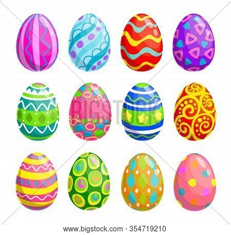 Easter Holiday Egg Vector Icons. Spring Religion Holiday Or Egghunting Decoration Isolated Objects W