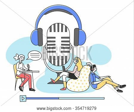 People Listening Radio Podcast Online Flat Vector Illustration. Speaker Sitting And Talking To Micro