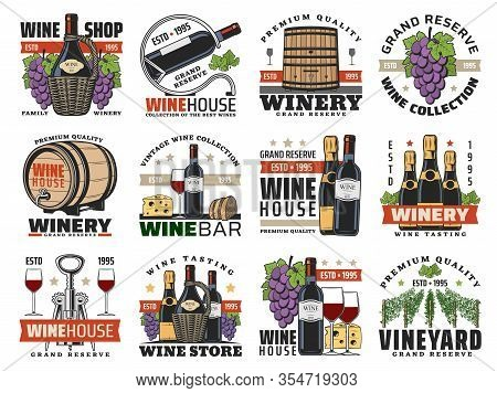 Wine, Winemaking And Viticulture Isolated Vector Icons Set. Shop, Wine Bottles, Glasses And Grapes,