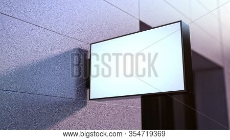 Empty illuminated advertising lightbox mounted on the wall. Blank square shop store signboard, street sign - 3d rendering